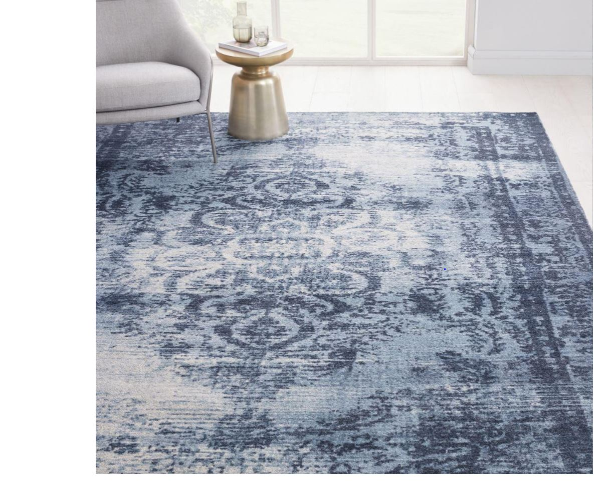 """""""Rug sourced by Three Interiors blue distressed tones"""""""