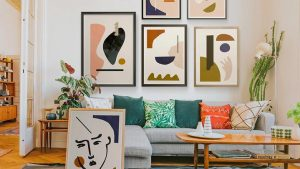 Abstract art by artist Jan Skacelik featured in a lounge room
