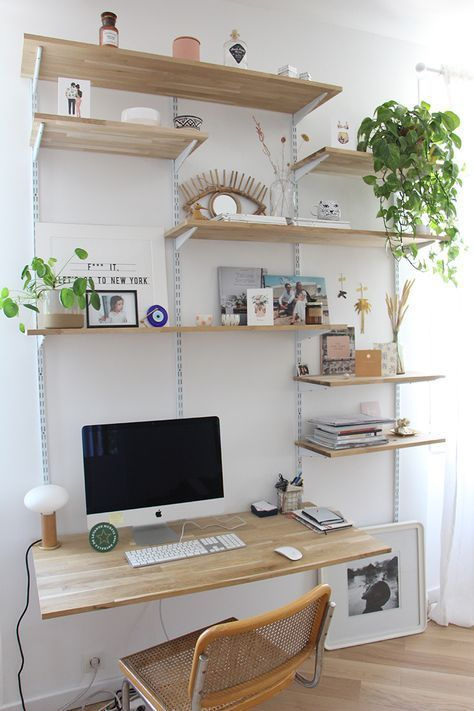 """a simple shelving unit incorporating a desk"""